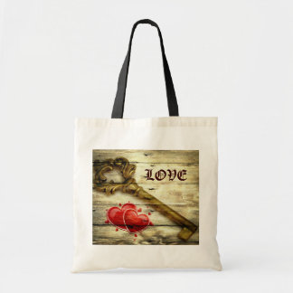 rustic barnwood hearts vintage key country wedding canvas bags