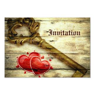 rustic barnwood hearts vintage key country wedding card