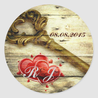 rustic barnwood hearts vintage key country wedding classic round sticker