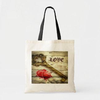 rustic barnwood hearts vintage key country wedding tote bag