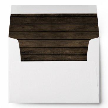 Rustic Barnwood Liner Wedding envelopes