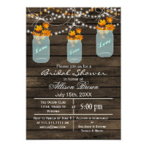 rustic barnwood maple mason jar fall bridal shower card
