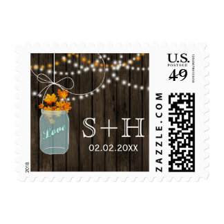 Rustic Barnwood mason jar Fall personalized stamps
