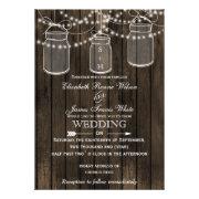 Rustic Barnwood,  mason jar  wedding invites by mgdezigns