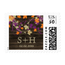 Rustic Barnwood plum leaves personalized stamps