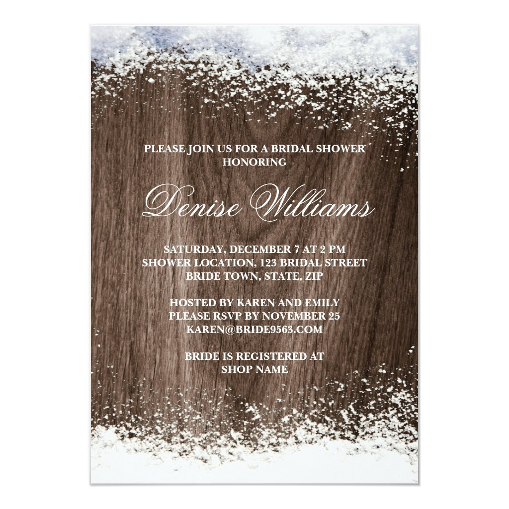 Rustic barnwood snow winter wedding bridal shower invitation