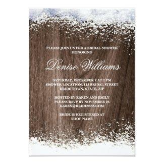 Rustic barnwood snow winter wedding bridal shower invitation