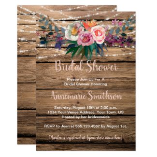 Rustic Barnwood Spring Wildflowers Bridal Shower Invitation