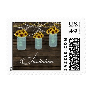 rustic barnwood sunflower general invitation stamp