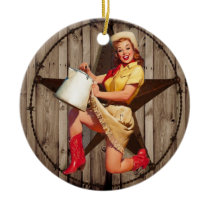 rustic BarnWood texas star western country cowgirl Ceramic Ornament