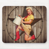 rustic BarnWood texas star western country cowgirl Mouse Pad