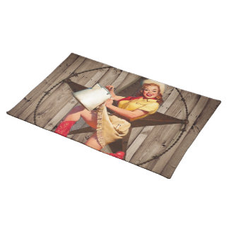 rustic BarnWood texas star western country cowgirl Placemat