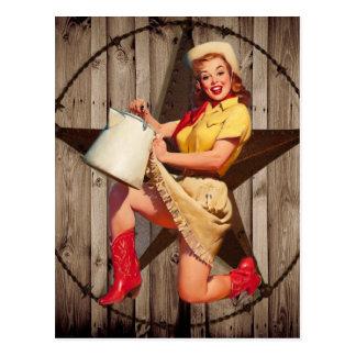 rustic BarnWood texas star western country cowgirl Postcard