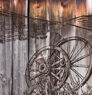 Rustic Barnwood Wagon Wheel Shower Curtain