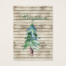 Rustic Barnwood watercolor pine wedding reception Business Card
