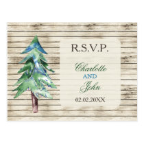 Rustic Barnwood watercolor pine Winter rsvp Postcard
