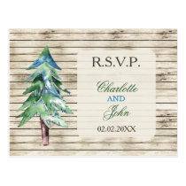 Rustic Barnwood watercolor pine Winter rsvp Postcard