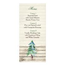 Rustic Barnwood watercolor Winter wedding menu