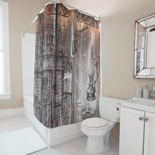 Rustic Barnwood Wild West Shower Curtain