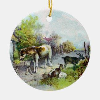 Rustic Barnyard with Horse and Goats Ceramic Ornament