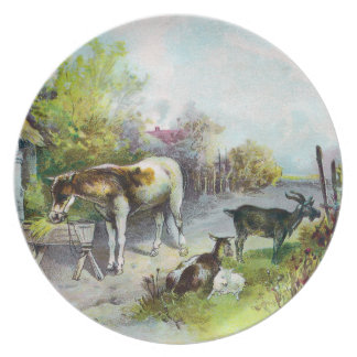 Rustic Barnyard with Horse and Goats Melamine Plate