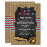 Rustic Baseball Baby Sprinkle / boy baby shower Card