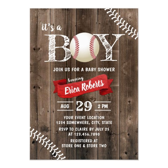 Rustic Baseball Sports Barn Wood Boy Baby Shower ...