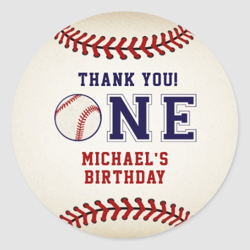 Rustic Baseball Thank You Classic Round Sticker