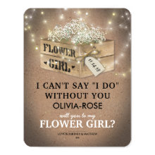Rustic Be My Flower Girl | Elegant Twinkle Lights Cards