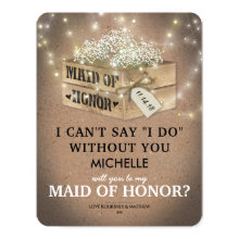 Rustic Be My Maid of Honor | Elegant Twinkle Light Cards