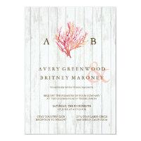 RUSTIC BEACH CORAL WOOD WEDDING INVITATION