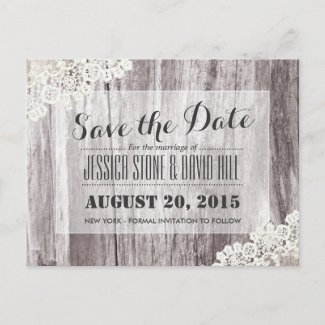 Rustic Beach Driftwood Laced Save the Date Announcement Postcard