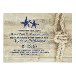 Rustic Beach Driftwood Nautical Rope Navy Wedding Card