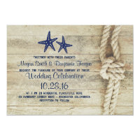 Rustic Beach Driftwood Nautical Rope Navy Wedding Invitation