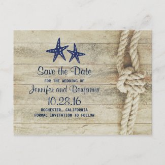 rustic beach driftwood nautical save the date announcement postcard