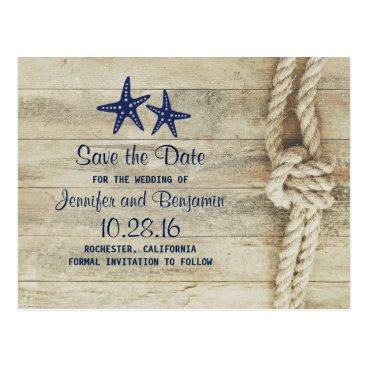 jinaiji rustic beach driftwood nautical save the date postcard