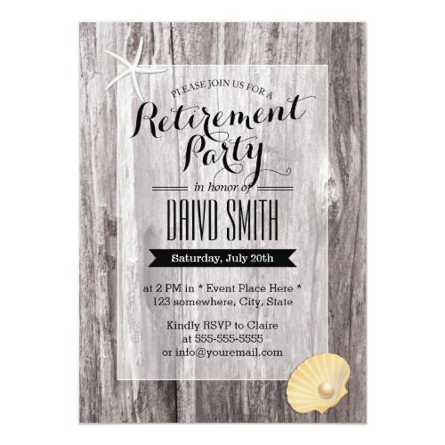 Rustic Beach Driftwood Retirement Party Invitation