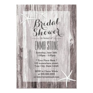 Rustic Beach Driftwood & Starfish Bridal Shower 5x7 Paper Invitation Card