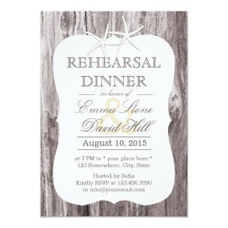 Rustic Beach Driftwood Starfish Rehearsal Dinner 5x7 Paper Invitation Card