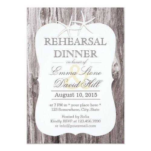 Rustic Beach Driftwood Starfish Rehearsal Dinner Invitation