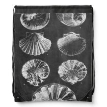 Rustic beach french country chalkboard seashells drawstring bag