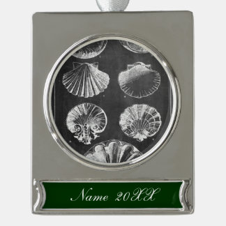 Rustic beach french country chalkboard seashells silver plated banner ornament