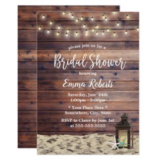 Rustic Beach Lantern & Starfish Bridal Shower Invitation