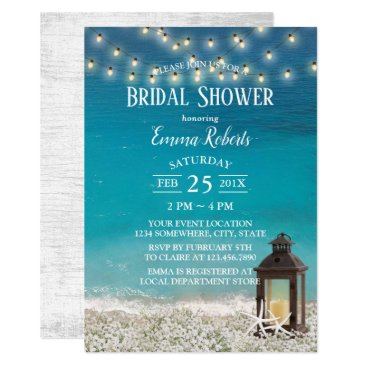 Beach Themed Rustic Beach Lantern String Lights Bridal Shower Card