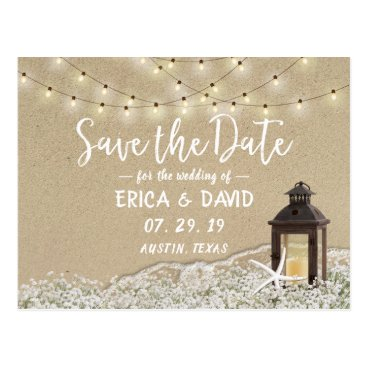 Rustic Beach Lantern String Lights Save the Date Postcard