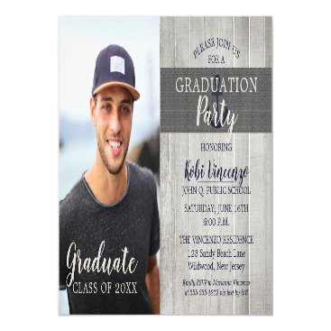 Beach Themed Rustic Beach Nautical Photo Graduation Party Magnetic Card