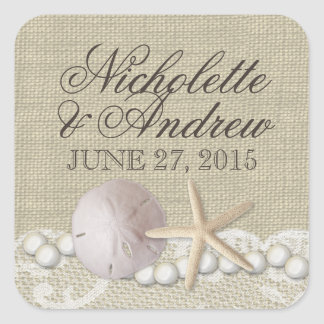 Rustic Beach Pearls and Lace Square Sticker