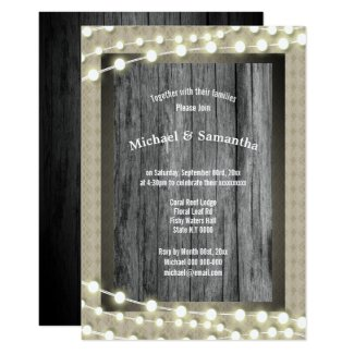 Rustic beach reef stringlights lace modern wedding invitation