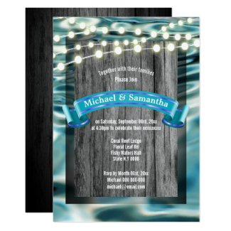 Rustic beach reef stringlights modern wedding invitation