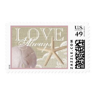 Rustic Beach Romance Sand Dollar Burlap and Lace Postage